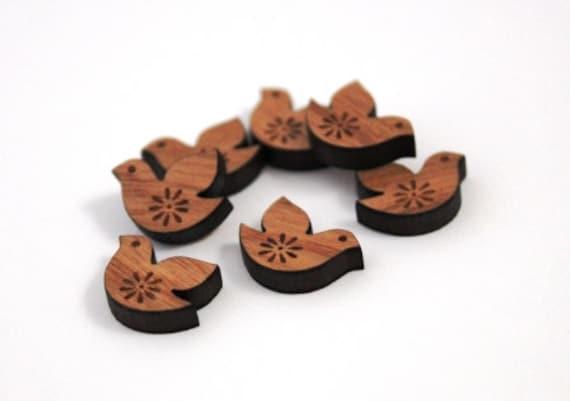 Wood & Acrylic Mini Shapes.8 Pieces.Sweet Birds  Laser Cut Supplies