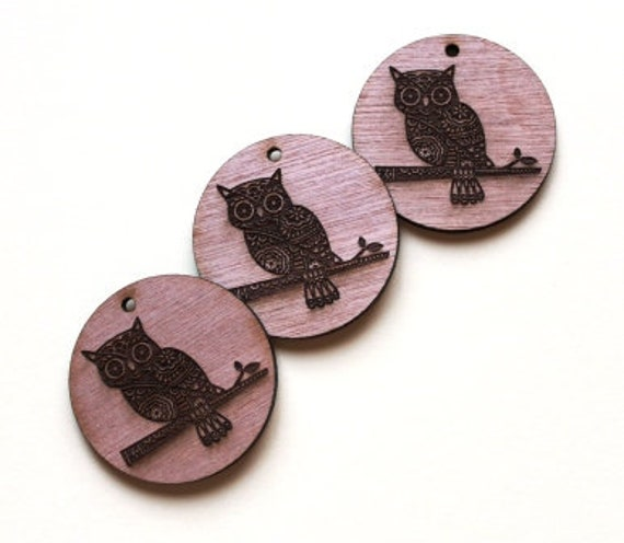 Laser Cut Supplies-1 Piece.Owl Charms-Acrylic and Wood Laser Cut -Jewellery Supplies- Little Laser Lab Wood and Acrylic Products
