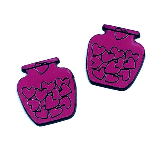 Wood & Acrylic Mini Shapes.8 Pieces. Jar Of Hearts. Mini Laser Cut Supplies