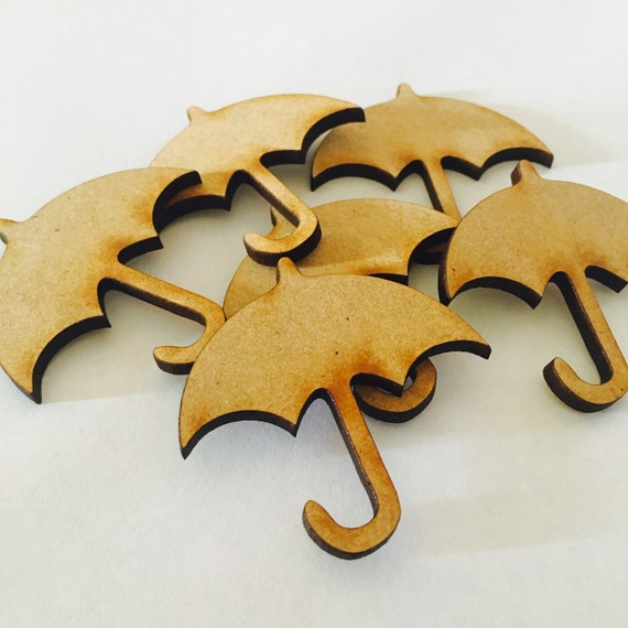 Lasercut Craft Wood Umbrella. Set of 2. 45mm Acrylic and Wood Laser Cut-Jewellery Supplies-Little Laser Lab Wood and Acrylic Products