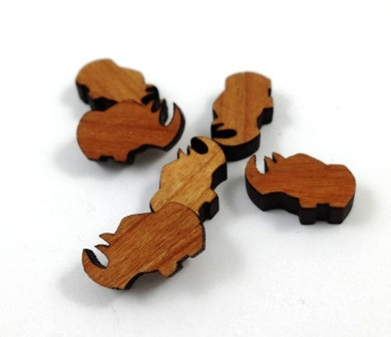 Laser Cut Supplies-8 Pieces.Rhino Charms-Acrylic and Wood Laser Cut-Jewellery Supplies-Little Laser Lab Wood and Acrylic Products