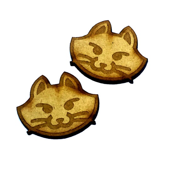 Wood & Acrylic Mini Shapes.8 Pieces.  Cat Head Mini  Laser Cut Supplies