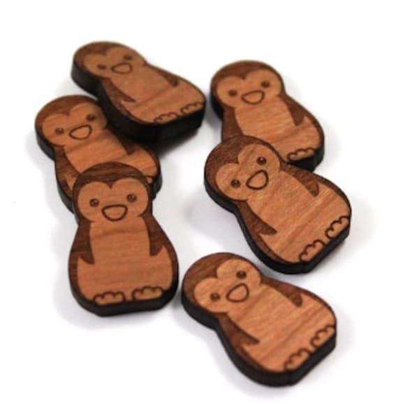 Wood & Acrylic Mini Shapes.8 Pieces.Penguin  Laser Cut Supplies