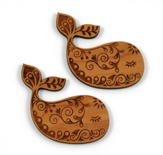 Wood And Acrylic Shapes. 1 Piece.Pretty Whale Charms. Laser Cut Wood And Acrylic