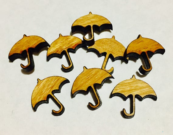 Laser Cut Supplies-8 Pieces. Umbrella Charms-Acrylic and Wood Laser Cut-Jewellery Supplies-Little Laser Lab Wood and Acrylic Products