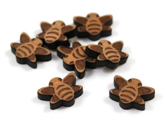 Wood & Acrylic Mini Shapes.8 Pieces.Bee  Laser Cut Supplies