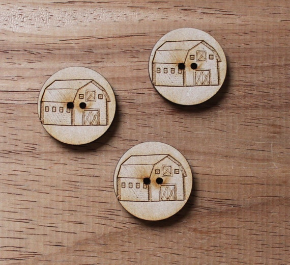 8 pieces.Barn Farmyard.Round Buttons,3 cm Buttons-Acrylic and Wood Laser Cut-Jewelry Supplies-Little Laser Lab Wood and Acrylic Products