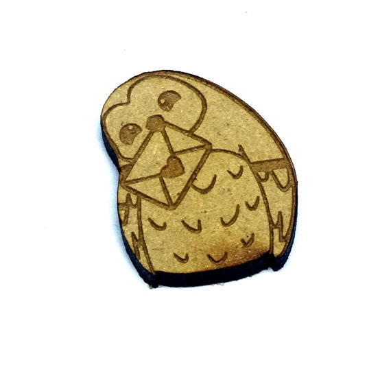 Wood & Acrylic Mini Shapes.8 Pieces.  Owl With Love Letter Mini  Laser Cut Supplies