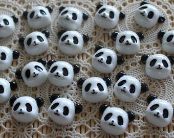 6 Pieces. Resin Flatback Cabochons 22mm Panda Faces