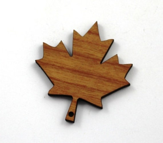 Wood And Acrylic Shapes. 1 Piece.Maple Leaf Charms. Laser Cut Wood And Acrylic