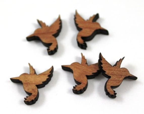 Wood & Acrylic Mini Shapes.8 Pieces.Humming Bird  Laser Cut Supplies