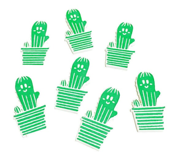 Wood & Acrylic Mini Shapes.8 Pieces. Cute Cactus  Laser Cut Supplies