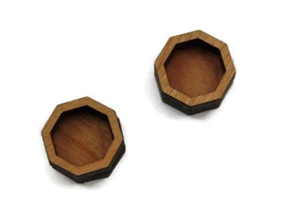 Wood & Acrylic Mini Shapes.8 Pieces.Bezel Octagon  Laser Cut Supplies