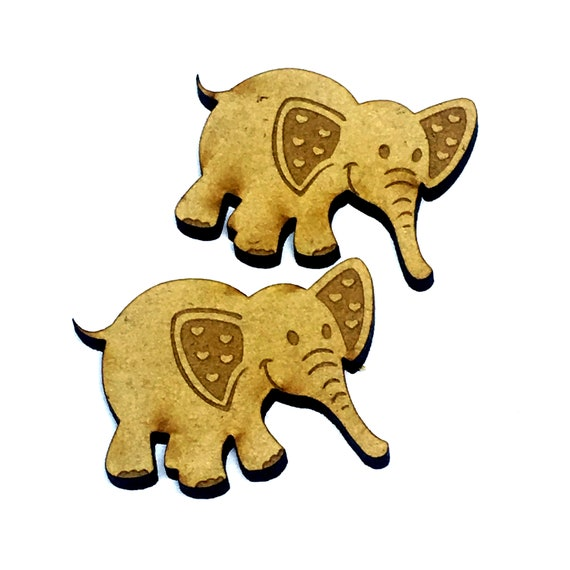 Wood & Acrylic Mini Shapes.4 Pieces.  Baby Elephant Mini  Laser Cut Supplies