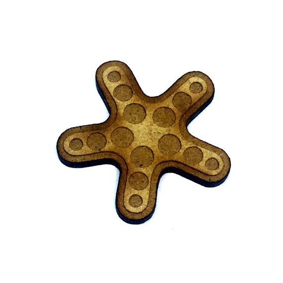 Wood & Acrylic Mini Shapes.8 Pieces.  Starfish Mini  Laser Cut Supplies