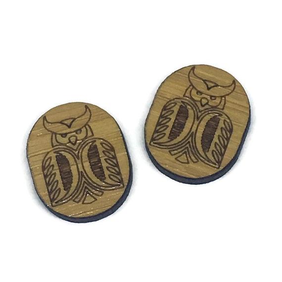 Bamboo Mini Shapes.8 Pieces.Folk Art Owl. Laser Cut Supplies