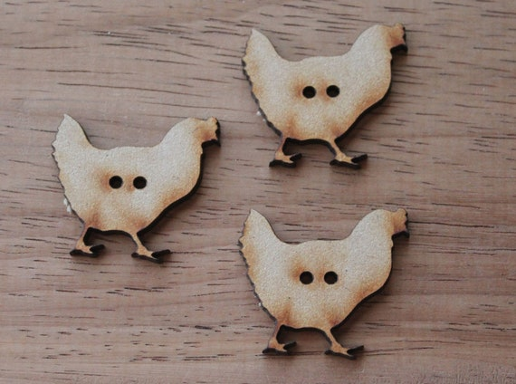 8 pieces.Hen Buttons, 3.4 cm Buttons -Acrylic and Wood Laser Cut-Jewellery Supplies-Little Laser Lab Wood and Acrylic Products