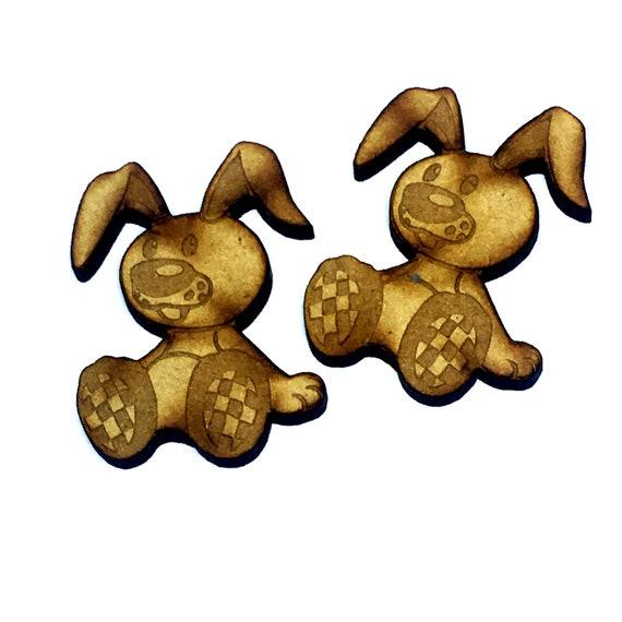 Wood & Acrylic Mini Shapes.4 Pieces.  Flopsy Bunny Rabbit Mini  Laser Cut Supplies