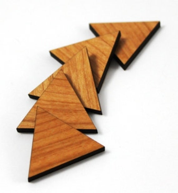 Wood & Acrylic Mini Shapes.8 Pieces.Triangle  Laser Cut Supplies