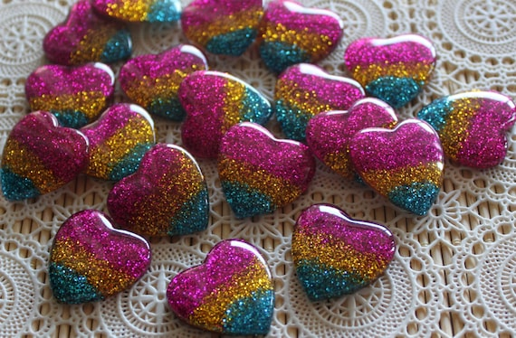 2 Pieces. Resin Flatback Cabochons 28mm Large Glitter Hearts Resin Flatback Cabochons