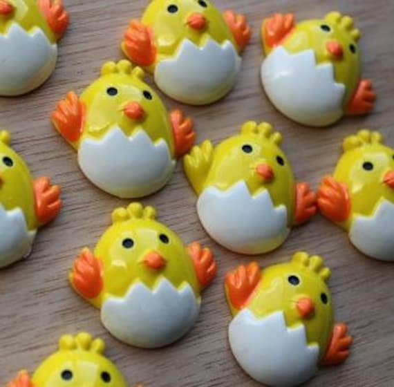 2 Pieces.Resin Flatback Cabochons 30mm Little Chicken. Craft Supplies. DIY Supplies