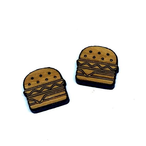 Bamboo Mini Shapes.8 Pieces. Hamburger. Laser Cut Supplies