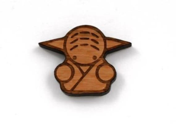 Wood And Acrylic Shapes. 1 Piece Yoda Charms. Laser Cut Wood And Acrylic