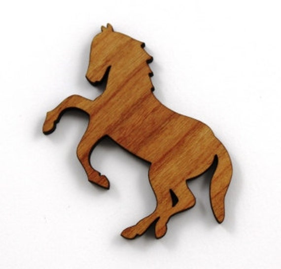 Wood And Acrylic Shapes. 1 Piece.Wild Horse Charms. Laser Cut Wood And Acrylic