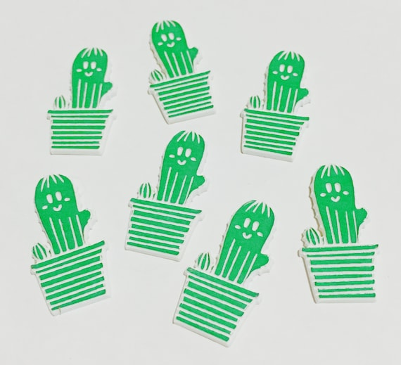 Laser Cut Supplies-8 Pieces. Cute Cactus Charms-Acrylic and Wood Laser Cut-Jewellery Supplies-Little Laser Lab Wood and Acrylic Products