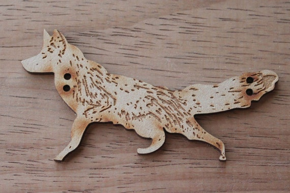 1 Piece.  Mr Fox Button, 8.5 cm Buttons -Acrylic and Wood Laser Cut-Jewellery Supplies-Little Laser Lab Wood and Acrylic Products