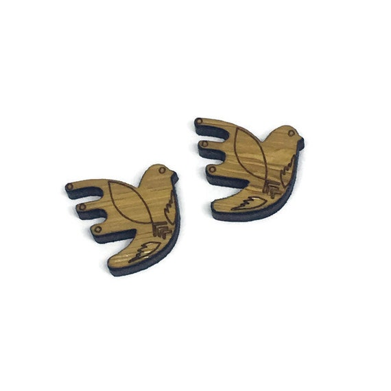 Bamboo Mini Shapes.8 Pieces.Folk Art Flying Bird. Laser Cut Supplies