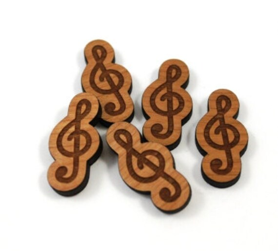 Laser Cut Supplies-8 Pieces.Treble Clef Charms-Acrylic and Wood Laser Cut-Jewellery Supplies- Little Laser Lab Wood and Acrylic Products