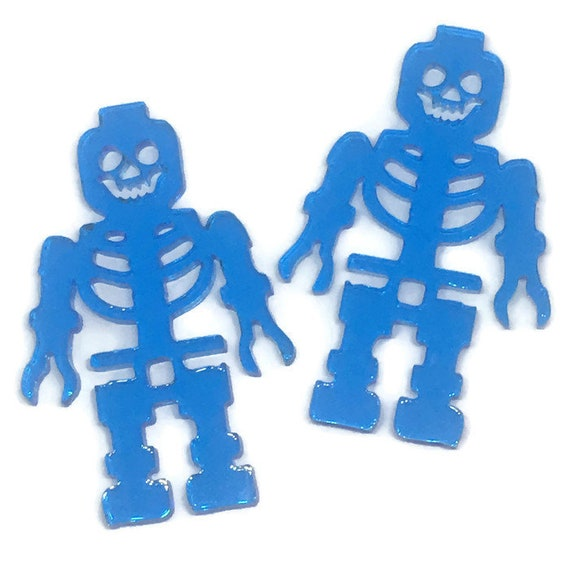 Acrylic Mini Shapes.1 Piece. Skeleton Block Man. Mini Laser Cut Supplies