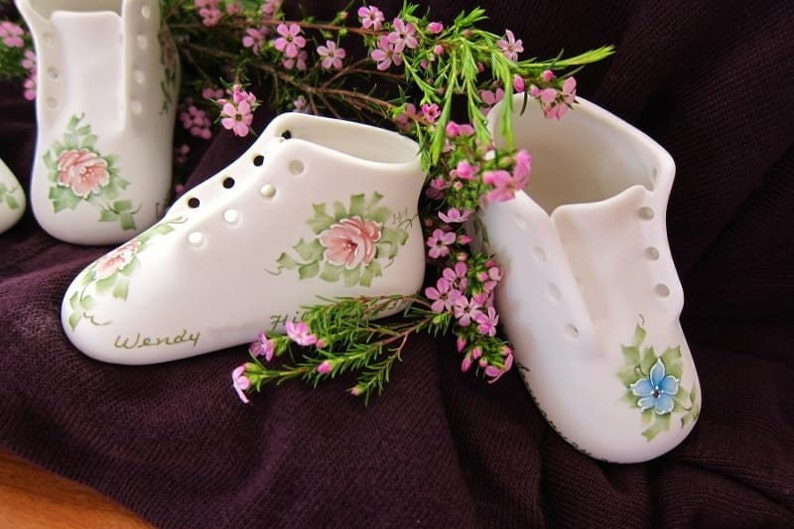 8308e435585e6 Hand Painted Bisque Porcelain Baby Shoe Keepsake Bootie - Personalized -  Boy or Girl - Inscribed With Baby's Full Birth Information