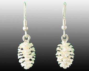 Pine Cone Earrings in Sterling Silver