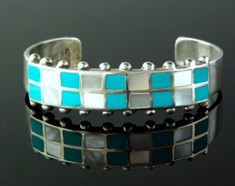 Zuni MOP and Turquoise Inlay Sterling Cuff Bracelet, Ladie's medium never been worn