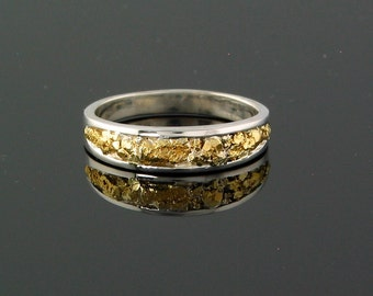 Style 108 Ring Size 6 in Sterling inlaid with Gold Nuggets