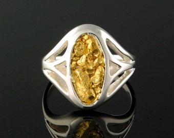 Style 239 Ring in Sterling Silver inlaid with 22kt Natural Gold