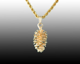 Pine Cone Pendant in 14kt Yellow Gold