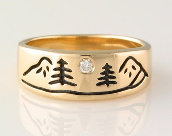 Mountain River Ring in 14k Yellow Gold with 3pt diamond