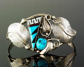 Navajo Turquoise Onyx MOP Bracelet, Ladie's size Medium never worn