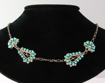 """Zuni Turquoise and Sterling 4 panel Petit Point Necklace, 20"""" long never worn"""