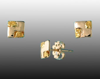 Style 136 14k Yellow Gold post earrings with 22Kt Gold