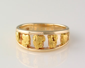 Nugget Stairstep Syle Ring in 14k Yellow Gold inlaid with 22kt Natural Gold