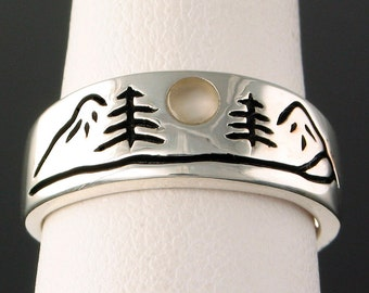 Sterling Mountain River ring with 3mm Moonstone