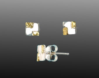 Style 136 Sterling Silver post earrings with 22Kt Gold Inlay