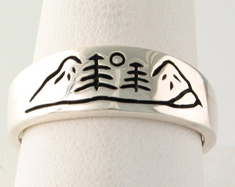 Mountain River Rings in Sterling Silver
