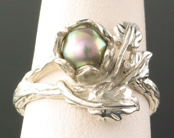 Three Leaf Sterling Silver Ring with 5mm Grey Pearl