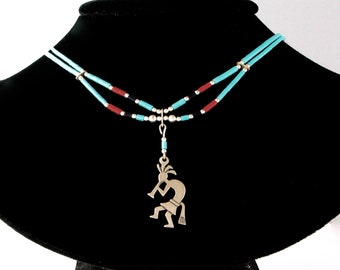 """Double strand Turquoise, Coral and Jet Heishi Sterling Kokopeli 18"""" Necklace, never worn"""