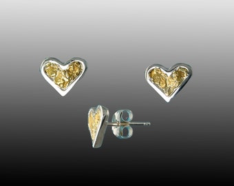 Style 174 Sterling Silver Heart earrings with 22Kt Gold Inlay